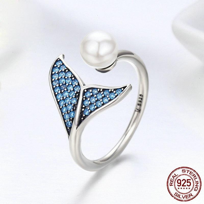 Bagues Sterling et perle taille réglable ouverte queue de sirène Zircon et cristal luxe femmes anneaux