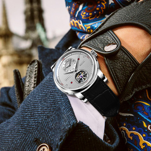 Image 2 - בורמן אוטומטי גברים שעון יוקרה מותג מכאני עצמי רוח שעוני יד רצועת עור שמלת relogio masculino הכפול אזור הזמן