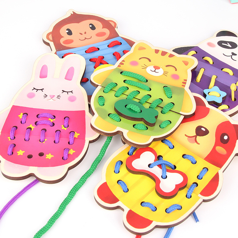Young CHILDREN'S Threading Board Montessori Educational Early Childhood Toy Men And Women Baby Animal Wearing Rope Handmade Exer