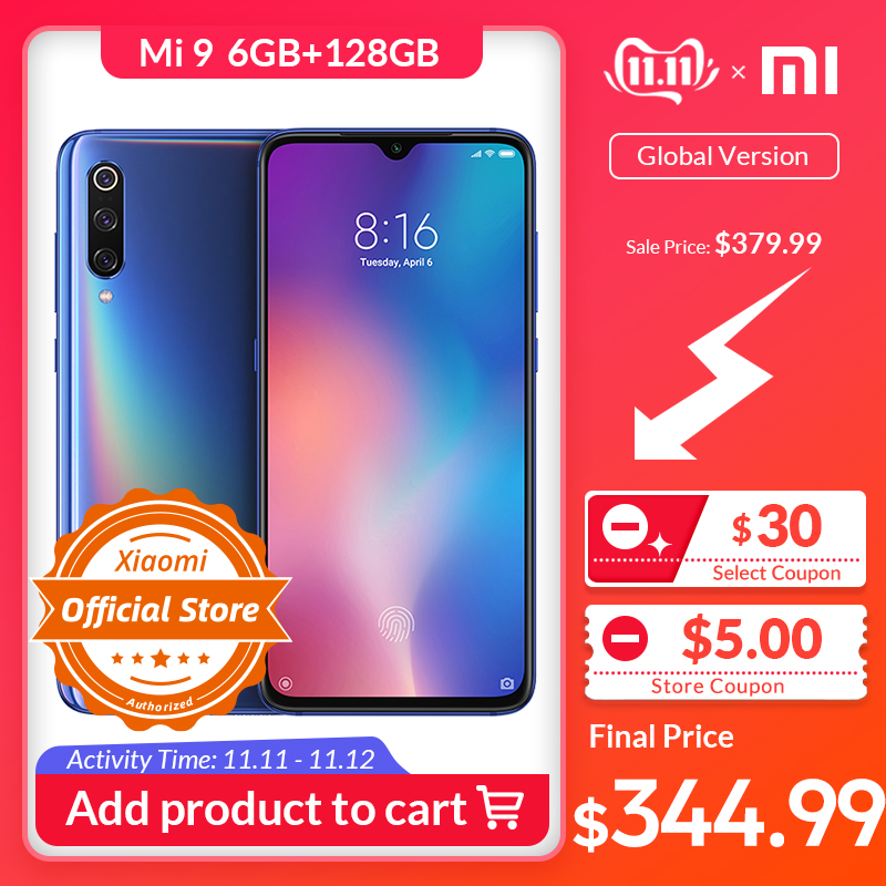 celular xiaomi Versão Global Xiaomi Mi 9 mi9 6GB 128GB Snapdragon 855 48MP Triplo Câmera AMOLED Telefone Móvel impressão digital de Carregamento Sem Fio NFC