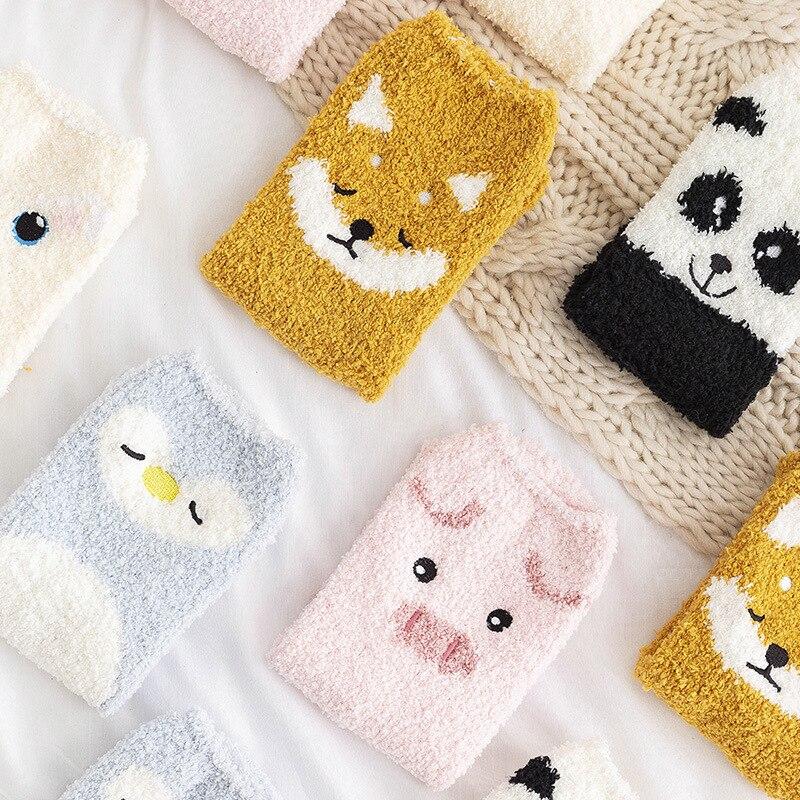 Cute Coral Fleece Cartoon Women Socks Super Warm Thicken Funny Soft Adorable Animals Panda Piggy Persian Cat Winter Sleep Socks