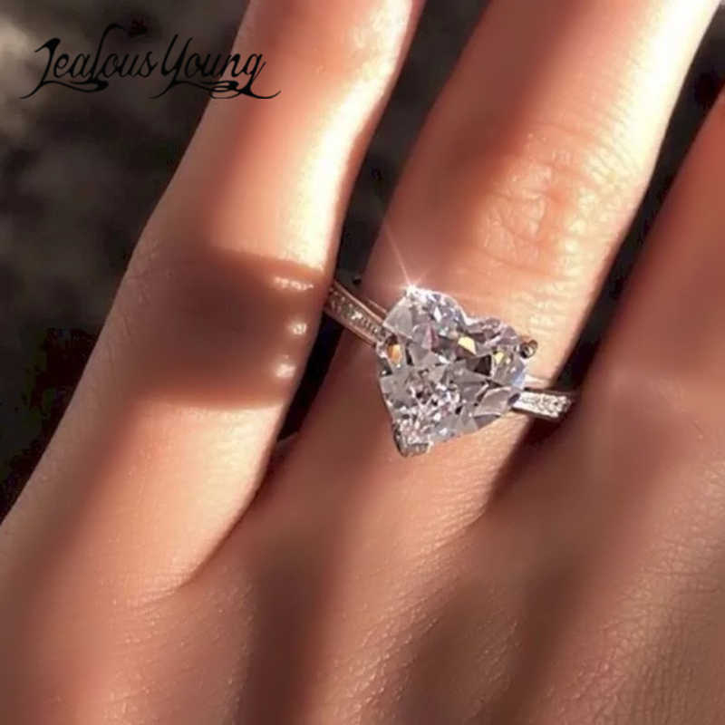 Mignon femme Zircon bague de mariage Style Unique femme coeur forme bague de fiançailles anneaux de promesse pour les femmes cadeau de fête