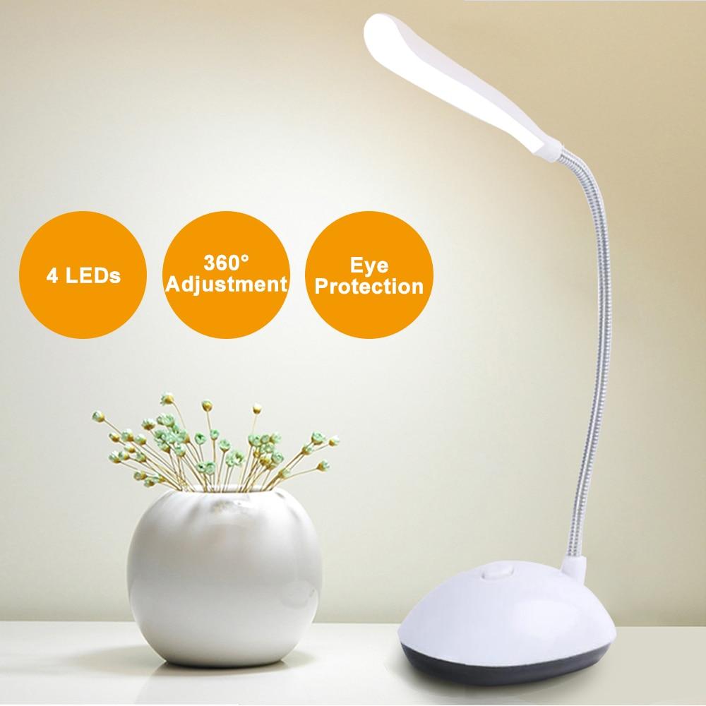 LED Desk Lamp Flexible Foldable Eye Protection Table Lamp AAA Battery Powered Reading Book Lights For Children Kids