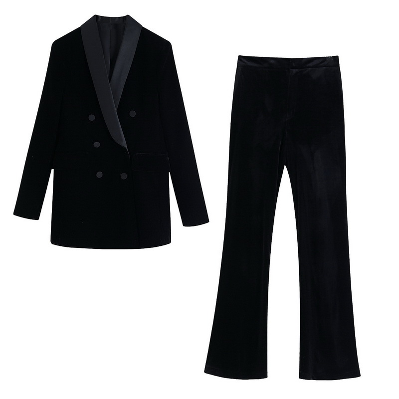 Women Black Suit Autumn 2019 New Fashion Soft Velvet Blazer And Pants Modern Lady 2 Pieces Sets