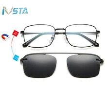 IVSTA Myopia Sunglasses Men Clip On Glasses Frame Polarized Women Magnetic Square Prescription Spectacle Frames