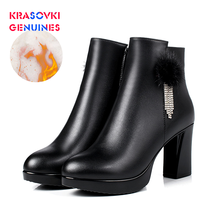 Krasovki Genuines Wool Women Snow Boots Fashion Genuine Leather Fur Warm Shoes Plush Ankle Boots Platform for Women Winter Boots krasovki genuines wool women snow boots warm genuine leather fur warm shoes plush ankle boots platform for women winter boots