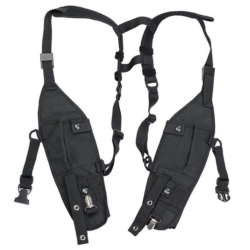 Hot Universal Double Radio Shoulder Holster Chest Harness Holder Vest Rig For Two Way Radio Rescue Essentials