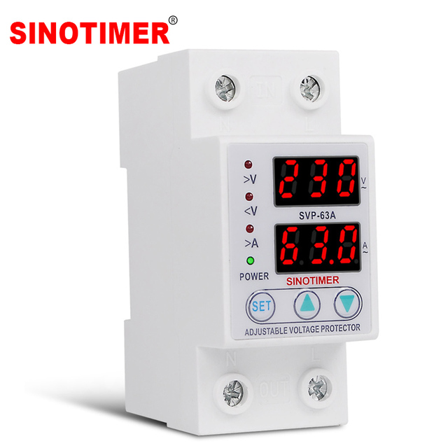 Protecteur de relais des surtensions 63a, 220V 230V, dispositif de Protection des surtensions, courant réglable