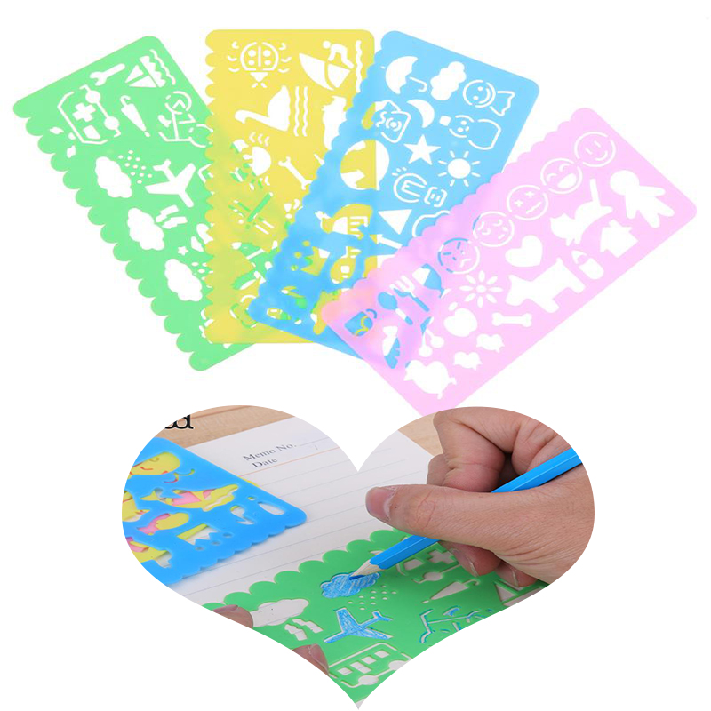 4pcs Art Graphics Symbols Drawing Template Stationery Korean Candy Color Ruler For Student Kids Drafting Stencil Ruler Toy Gifts