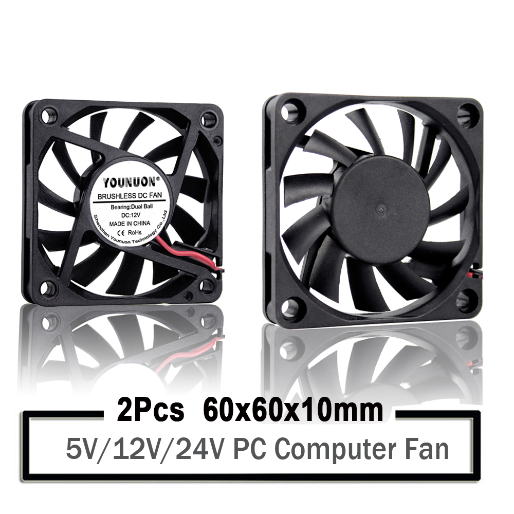 2PCS YOUNUON <font><b>60mm</b></font> <font><b>5V</b></font> 12V 24V Brushless USB 2PIN 3PIN DC Cooler <font><b>Fan</b></font> 60x60x10mm 6010 6cm 2.36inch For Computer PC CPU Case Cooling image