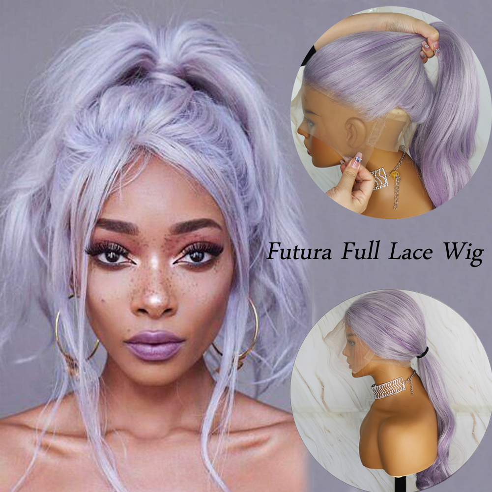 YYsoo Long Purple Highlight Futura Full Lace Wigs With BabyHair For Women Pre Plucked Glueless Full Hand Tied Synthetic Wavy Wig