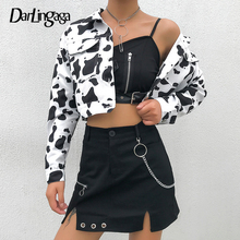 Darlingaga Streetwear Cow Print Cropped Female Jacket Casual Buttons Coat Women