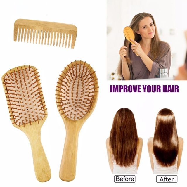6PC/Set Wood Comb Healthy Paddle Cushion Hair Loss Massage Brush Hairbrush Comb Scalp Hair Care Healthy Bamboo Comb 2