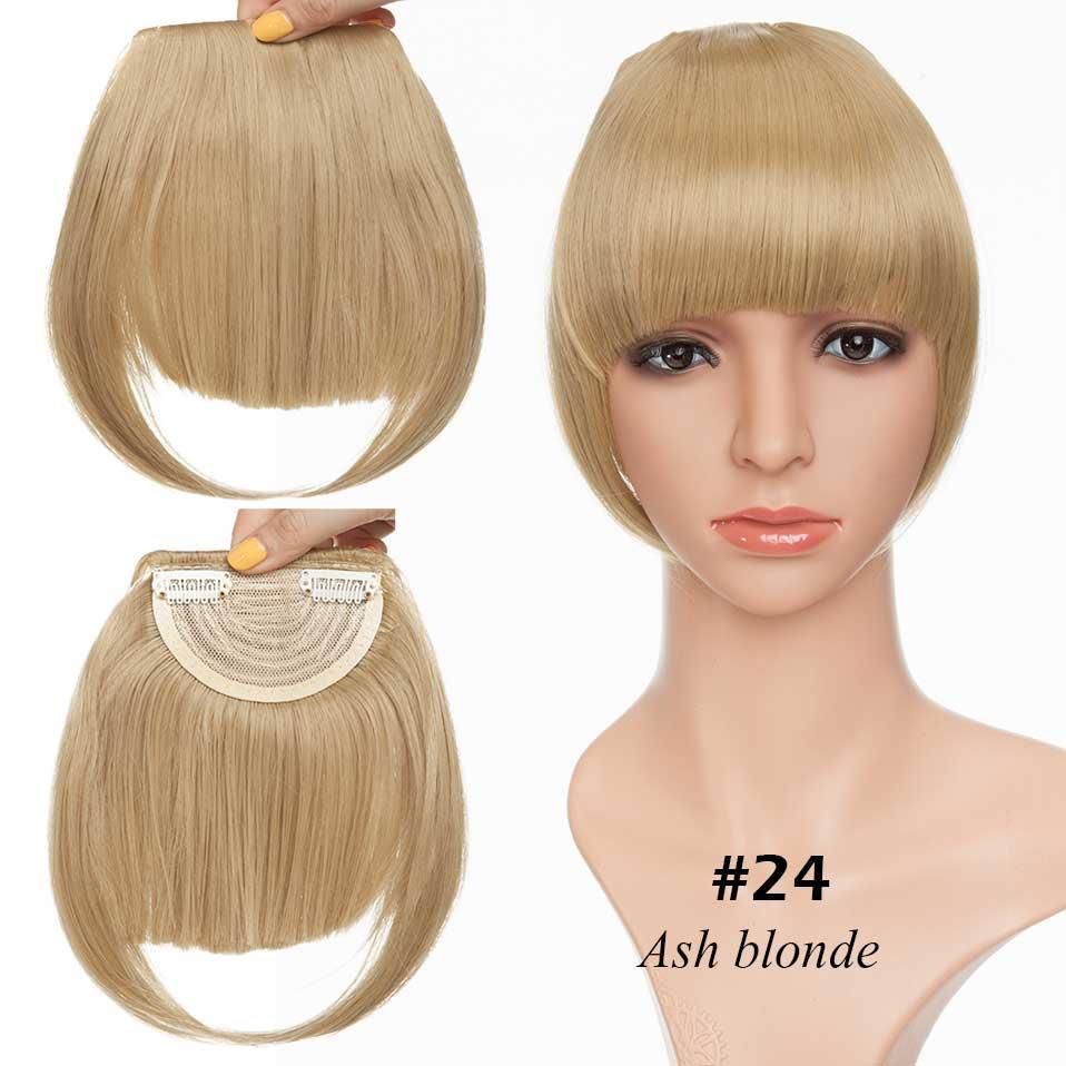 SNOILITE короткие передние тупые челки Клип короткая челка волосы для наращивания прямые синтетические настоящие натуральные накладные волосы - Цвет: ash blonde