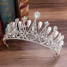 Nuevo plata hoja Rhinestone de la perla de la princesa de la Reina de la diadema novia Tiara tocado corona nupcial de la boda accesorios de joyas para el pelo