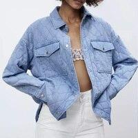 Za-chaqueta vaquera para mujer, Parkas finas rectas, chaquetas de camisa, prendas de vestir azules a la moda, abrigo de gran tamaño con bolsillos, trf de otoño