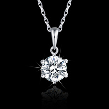 Classic 925 Silver Pendant Necklace round excellent 1ct DF color moissanite Women Clavicle Chain Anniversarry Gift