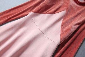Image 4 - Victoria Beckham Kleid 2020 Hohe Qualität Runway Stehkragen Langarm Patchwork Samt Elegante Damen Kleider NP0813W