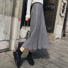купить 2019 autumn midi skirt winter pleated skirt fashion faldas largas mujer wool high waist knit skirt long jupe femme дешево
