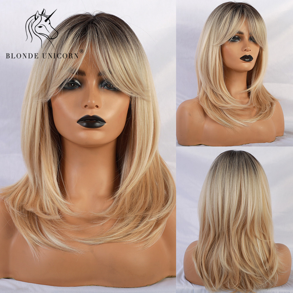 Blonde Unicorn Synthetic Wigs With Side Bangs Natural Wave Dark Root Blonde Trendy Wig For White/Black Women African American