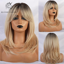 Blonde Unicorn Synthetic Wigs with Side Bangs Natural Wave Dark Root Blonde Trendy Wig for White/Black Women African American(China)