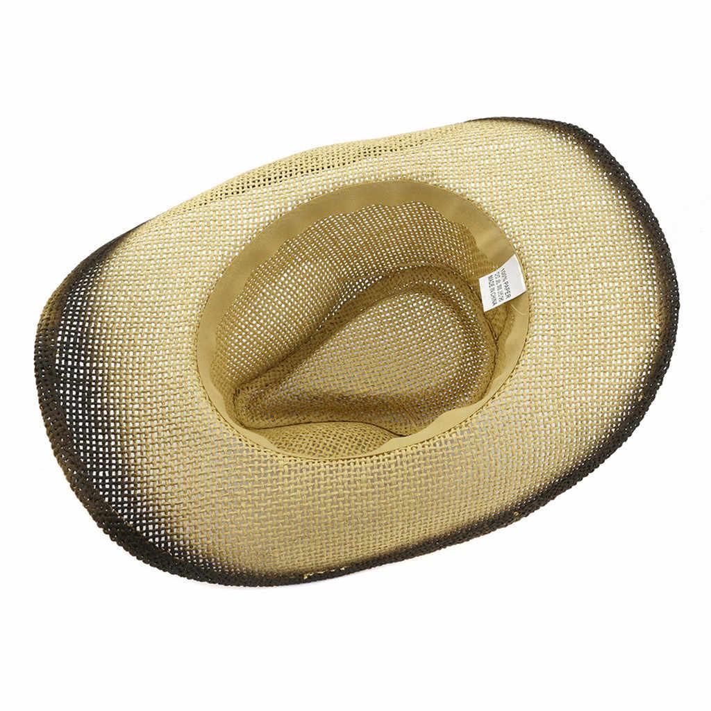 النساء الرجال الرجعية قبعات رعاة البقر الغربية قبعة رولووب واسعة حافة راعية البقر الجاز الفروسية قبعة سومبريرو مع شرابة Tauren الشريط واسعة قبعة لها حواف