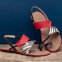цена на Slip On Flat Sandals Women Shoes Beach Flip Flops Summer Designer Shoes Outdoor Zebra Leopard Women Sandals Plus Size 35-43