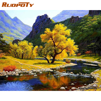 RUOPOTY Frame DIY Painting By Numbers Landscape River Picture By Numbers For Adults Modern Wall Art Decors Handpainted Diy Gift ruopoty frame mountain lake diy painting by numbers landscape handpainted oil painting modern home wall art canvas painting art
