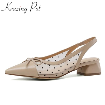 Krazing pot summer new sandals women genuine leather polka dot pointed toe med heels butterfly-knot comfortable shoes women L00