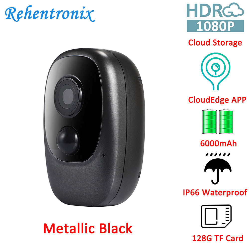 IP66 Outdoor Rechargeable Battery Powered WiFi Camera Night Vision 1080P Video Motion Detection Cloud Storage SD Card 128G