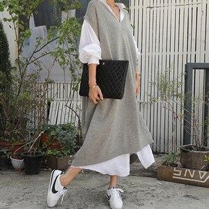 Image 2 - 따뜻한 회색 스웨터 드레스 여성 특대 민소매 캐주얼 느슨한 니트 드레스 숙녀 사무 작업복 긴 드레스 가운 Longue