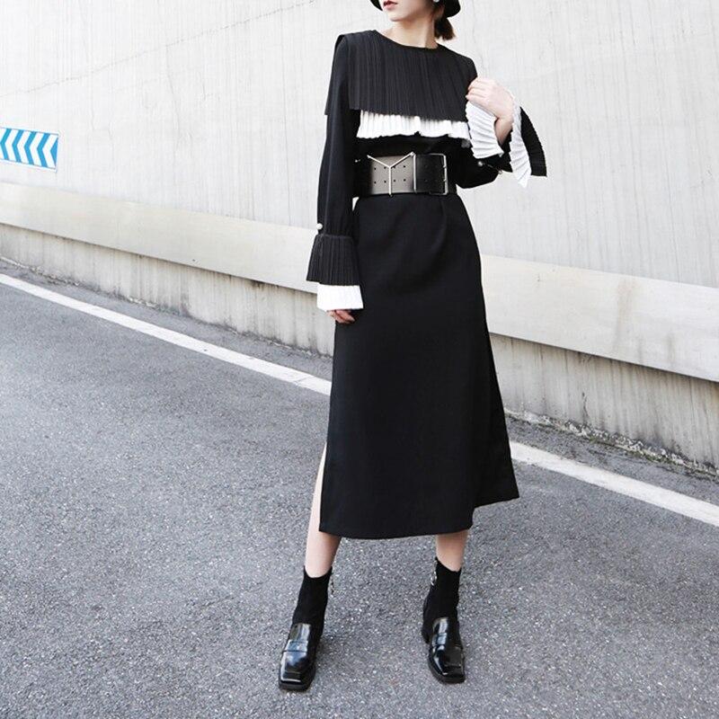 TVVOVVIN femmes noir plissé Joint longue robe nouveau col rond manches longues lâche Fit mode marée printemps automne 2019 D358 - 3