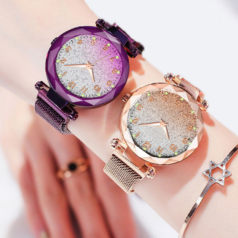 Women Watches Gradient Starry Number Dial Luxury Magnetic Mesh Quartz Wristwatch Ladies Female Bracelet Watch Relogio Feminino