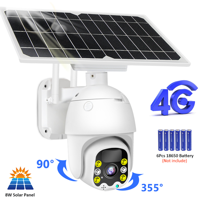 4G 8W Solar IP Camera SIM Card 1080P HD Outdoor WiFi Camera 3G Wireless Speed Dome CCTV Security Camera Battery Long Standby 1
