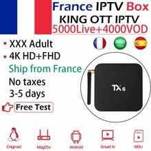 TX6 H6 Android 9,0 ТВ коробка+ Король IPTV арабский и французский Испания взрослый IP tv m3u 4G/64G быстрее двойной WiFi 2,4G/5,8G 4K BT5.0 телеприставка
