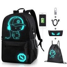 Senkey, школьный рюкзак для мальчиков, студенческий, светящийся, анимация, USB зарядка, переключение, сустав, школьные сумки для подростков, Противоугонный рюкзак