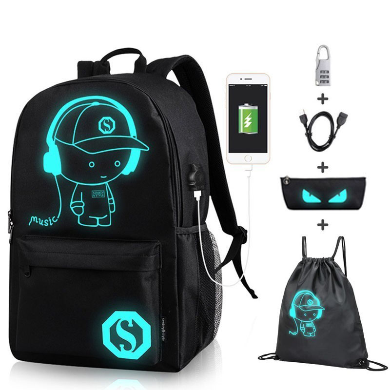 Senkey Boys School Backpack Student Luminous Animation USB Charge Changeover Joint High School Bags Teenager Anti-theft Backpack