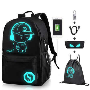 Senkey Boys School Backpack Student Luminous Animation USB Charge Changeover Joint High School Bags Teenager anti-theft backpack - DISCOUNT ITEM  45% OFF All Category