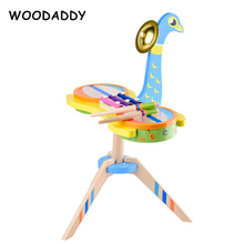 Baby Toys Peacock Drum Kit Children Musical Instruments Wooden Toys For Kids Xylophone Toys Educational Birthday Gift Dropship