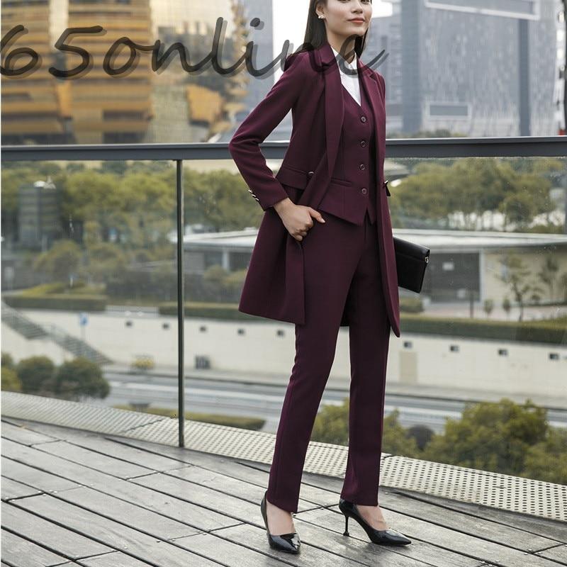 Novelty Wine OL Styles Women Work Wear Pants Formal Professional Trendy Skinny Leggings Female Trousers Pants Capris