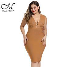 Maketina 2019 Cut Out Plus Size Bandage Dress Women High Quality Rayon XL Sexy Club Party Bodycon