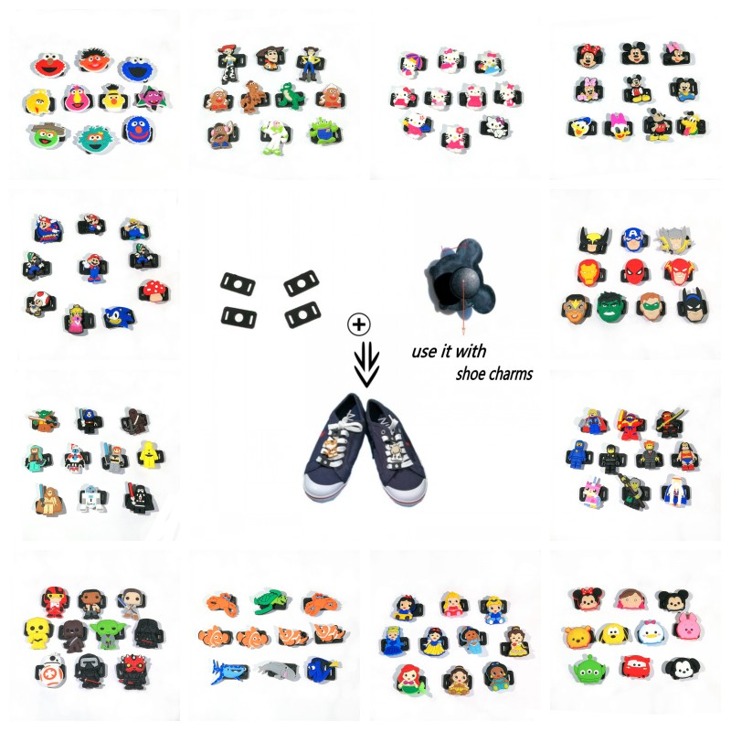 Avenger Mickey Hot Cartoon PVC Shoe Charms&Shoelace Shoe Accessories For Casual/Sports Shoes Star Wars Shoe Decor Birthday Gift