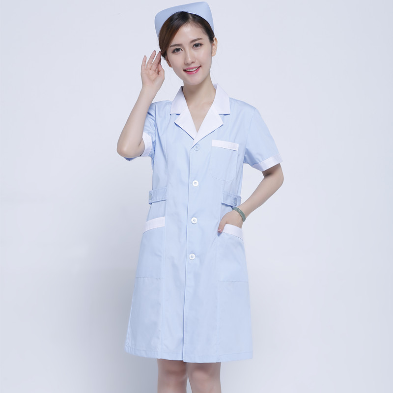 White Coat Nurse Take A Doctor To Take A Medicine Shop Medicine Woman White Gown Custom-made Beauty Suit Light Blue