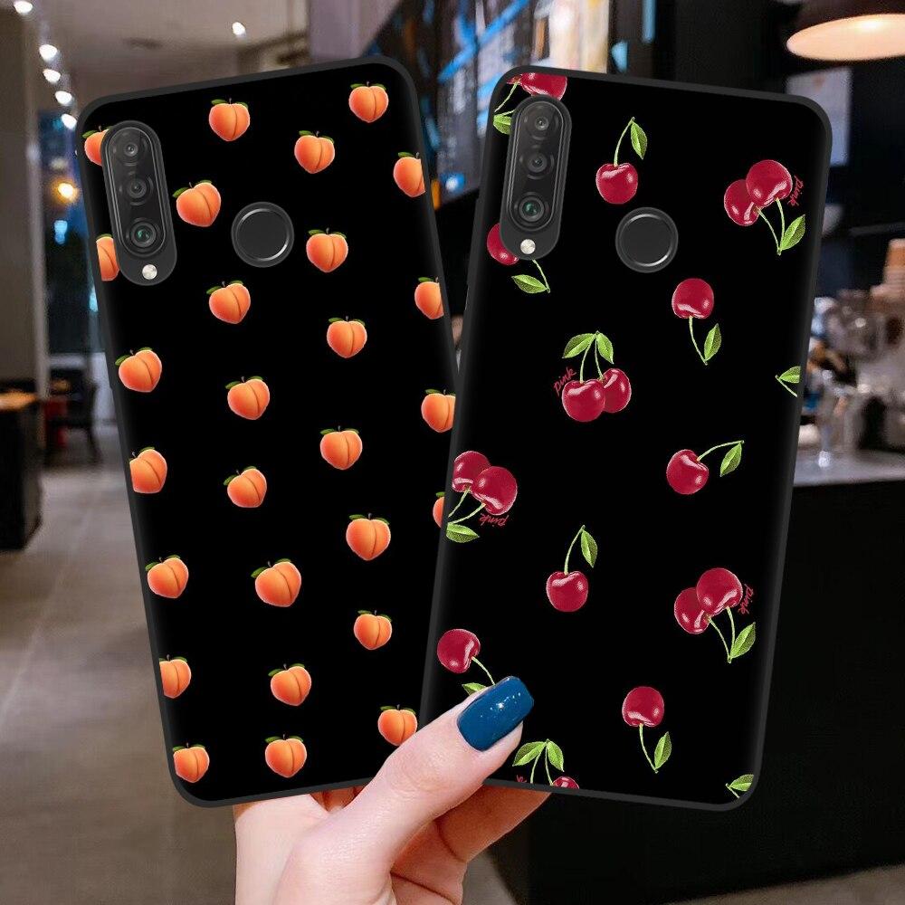 Black Silicone Cherry Peach Phone Case For Huawei P20 P30 P40 Lite E Pro Honor 10 20 Lite Pro10i 8C 8X 9X Pro Back Cover Coque