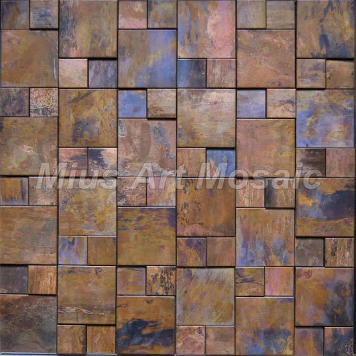 Fashion Style 3D Copper Metal Mosaic Tile