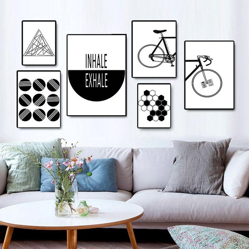 Акварельный плакат, настенные картины с принтом, Геометрическая Картина на холсте с изображением велосипеда, скандинавский минимализм, нас...