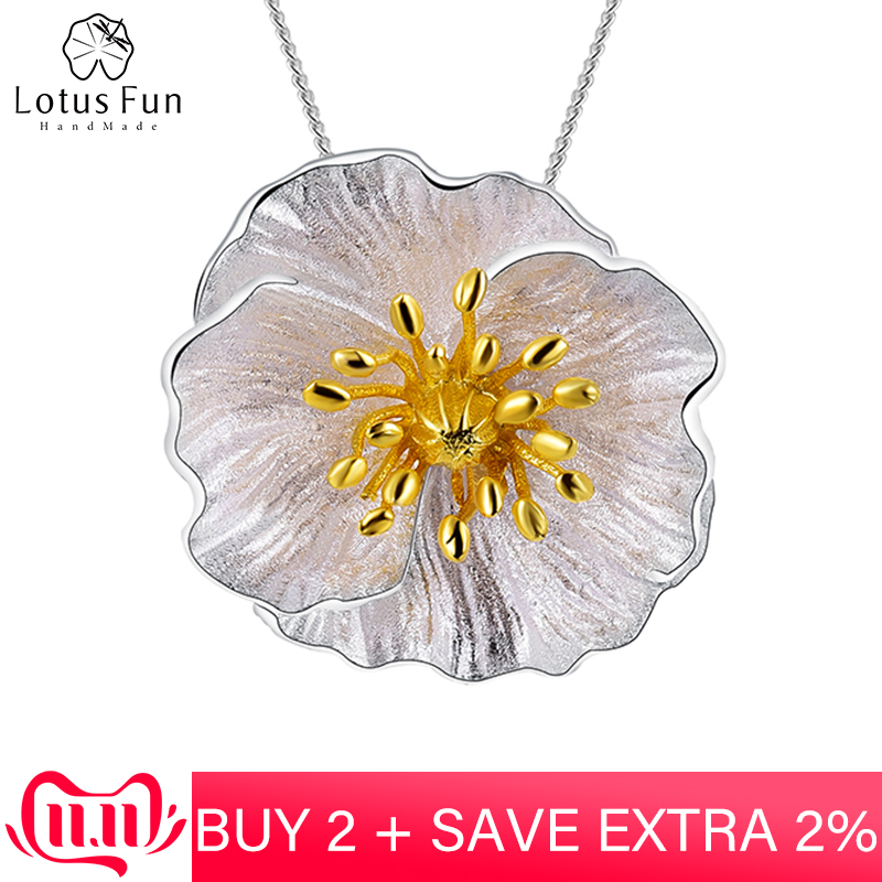 Lotus Fun Real 925 Sterling Silver Handmade Fine Jewelry 18K Gold Blooming Poppies Flower Pendant Without Necklace For Women