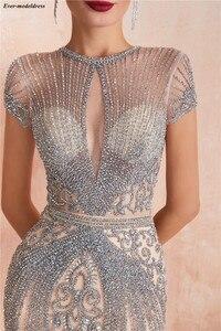 Image 3 - Luxe sirène robes de soirée longue perlée manches courtes Illusion haut 2019 Robe de bal robes formelles Robe de soirée
