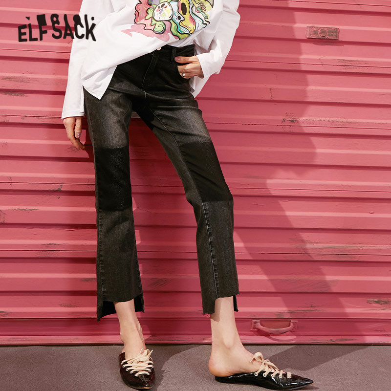 ELFSACK Black Solid High Low Irregular Casual Jeans Woman 2020 Spring New Patchwork Korean Straight Ladies Basic Daily Pant
