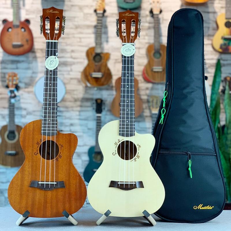 Ukulele 26 Inches All Mahogany Spruce Mini Electri Tenor Acoustic Guitars 4 Strings Ukelele Pickup Travel Guitar Included Bag